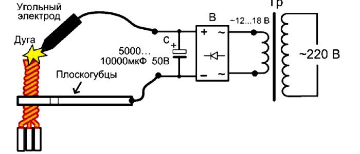 аппарат для сварки скруток проводов - силовой мостовой выпрямитель с конденсатором
